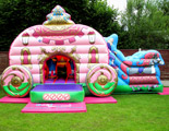 Princess carriage bouncy castle and slide